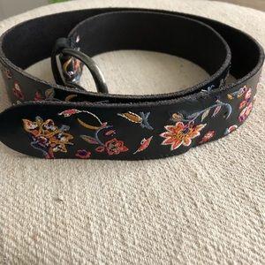 Free people black floral embroidered leather belt